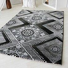 Designer Kurzflor Teppich in Schwarz mit Viereck Versace Muster Design Modern Vintage Barock Style Wohnzimmer Teppiche mit Öko-Tex Siegel (160 x 230 cm)