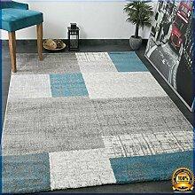 Designer Kurzflor Teppich in Türkis Blau, Grau und Weiß Kachel-Optik Pflegeleicht -VIMODA, Maße:160x230 cm …