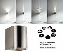 Designer LED Außenwandleuchte 2x5W warmweiss