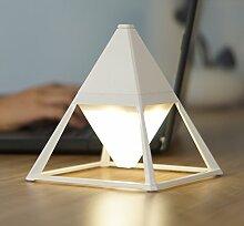 Designer LED Tischlampe Pyramidenfrom (Weiß)