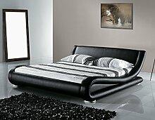 Designer Leder Bett Avignon mit Lattenrahmen Lattenrost Polsterbett wellenförmiges Lederbett schwarz modern gewelltes Bett Doppelbett günstig (160 x 200 cm)