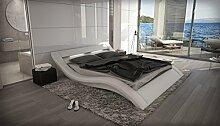 Designer Luxus Gelbett LOOK Weiß 200 x 220 cm LED Beleuchtung Dual Designerbett Softside Komplett Se