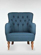 Designer Retro Sessel LELAND 78 x 100 x 90 cm (BxHxT) Loungesessel blau