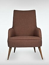 Designer Retro Sessel LONG-ISLAND 69 x 107 x 89 cm (BxHxT) Loungesessel braun