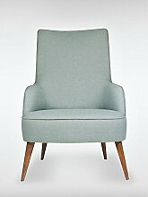 Designer Retro Sessel LONG-ISLAND 69 x 107 x 89 cm (BxHxT) Loungesessel indigo-blau