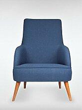 Designer Retro Sessel LONG-ISLAND 69 x 107 x 89 cm (BxHxT) Loungesessel blau