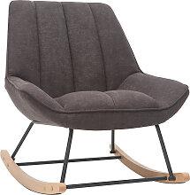 Designer-Schaukelstuhl aus Stoff in dunkelgrauem
