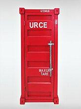 Designer Schrank Red Safe Hochschrank schmal rot Holz