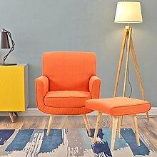 Designer-Sessel mit Hocker, schlicht, modern,