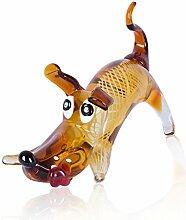 Designer Skulptur B x H x T: 16x20x30cm Glas Hund Glasfigur Deko Unikat Dekoration Geschenkidee