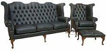 Designer Sofas4u Chesterfield 3-Sitzer + Queen