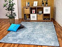 Designer Soft-Velours Teppich Vintage Eisblau in