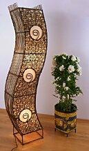 Designer Standleuchte aus Bambus u. Rattam. asiatische Stehleuchte / Stehlampe Stimmungslampe Wohnzimmerlampe