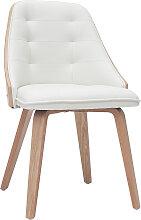 Designer-Stuhl aus zwei Materialien weiß und