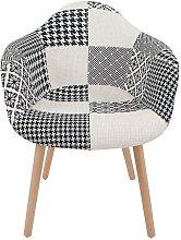Designer Stuhl mit Patchworkmuster Schwarz Weiß