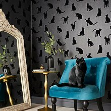 Designer Tapete Roccocat schwarz beflock