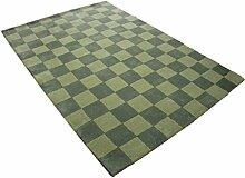 Designer Teppich 150x230 cm 100% Wolle Handtuft grün