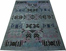 designer Teppich 180x270 cm 100% Wolle Handtuft lila grau blau melier