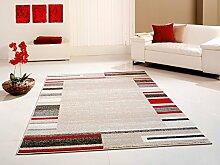 Designer Teppich beige-rot 160 cm x 230 cm