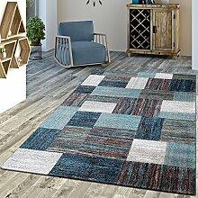 Designer Teppich Blau Meliert Kurzflor Modern Kurzflor, Größe:240x340 cm