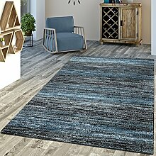 Designer Teppich Blau Modern Kurzflor Mulitcolour, Größe:80x150 cm