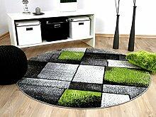 Designer Teppich Brilliant Grau Grün Fantasy Rund