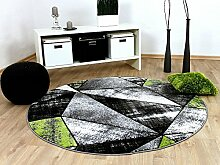 Designer Teppich Brilliant Grau Grün Magic Rund