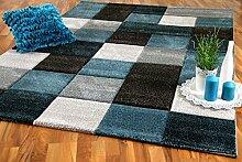 Designer Teppich Brilliant Grau Türkis Karo in 4