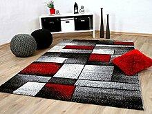 Designer Teppich Brilliant Rot Grau Fantasy in 5