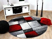 Designer Teppich Brilliant Rot Grau Fantasy Rund