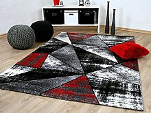 Designer Teppich Brilliant Rot Grau Magic in 5