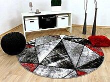 Designer Teppich Brilliant Rot Grau Magic Rund in