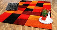 Designer Teppich Brilliant Rot Orange Karo in 4