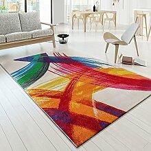 Designer Teppich Bunt Kunststück Picasso BrushOptik Modern Multi Creme Gelb Rot , Größe:120x170 cm