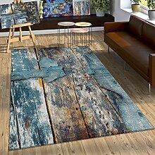 Designer Teppich Bunte Holz Optik Hoch Tief Optik In Türkis Gelb Grau Meliert, Grösse:200x290 cm