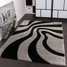 Designer Teppich Festival mit Konturenschnitt Muster Silber Schwarz Grau, Grösse:200x290 cm