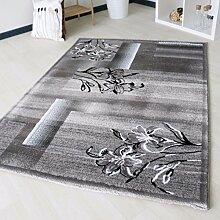 Designer Teppich Floral Grau Wohnzimmerteppich mit Blüten Blumen Design Muster uni Kurzflor mit Öko-Tex (200 x 290 cm)