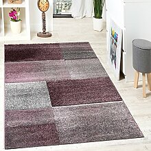 Designer Teppich Hochwertig Kariert Konturenschnitt Sprenkeln In Lila Beige Grau, Grösse:120x170 cm