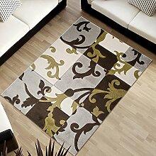DESIGNER TEPPICH IN BEIGE/GRAU/BRAUN KARO ORNAMENTE MIT NATURMOTIV 160 x 220 cm