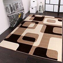 Designer Teppich in Braun Beige Creme Retro Design Top Qualität zum Top Preis!!