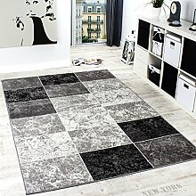 Designer Teppich Kariert in Marmor Optik Meliert Grau Schwarz Weiss Preishammer, Grösse:160x230 cm