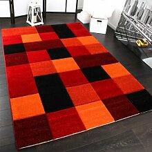 Designer Teppich Kariert Modern Handgearbeiteter Konturenschnitt Rot Schwarz, Grösse:200x290 cm