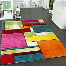 Designer Teppich Kariert Trendig Bunt Meliert Eyecatcher Grün Blau Orange Pink, Grösse:80x150 cm