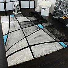 Designer Teppich Karo Modern Handgearbeiteter Konturenschnitt Grau Türkis, Grösse:120x170 cm
