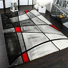 Designer Teppich Karo Modern Handgearbeiteter Konturenschnitt Grau Rot, Grösse:160x230 cm