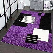 Designer Teppich Karo Muster in Schwarz Lila Weiss Top Qualität zum Top Preis