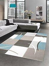 Designer Teppich Karo Pastell blau Creme braun