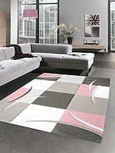 Designer Teppich Karo Pastell rosa creme braun Größe 80x150 cm