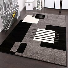 Designer Teppich Karo Stil in Grau Schwarz Weiss Top Qualität zum Top Preis