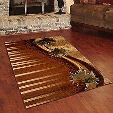 Designer Teppich Klassisch mit Konturenschnitt - Abstrakt 3D Muster BRAUN- Beste Qualität -Roma Kollektion 70 x 140 cm